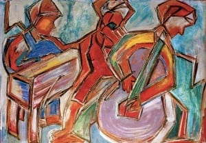 This is an original painting by Cynthia Lou Freytag of jazz musicians. It is 29